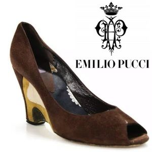 EMILIO PUCCI SIZE 37.5 BROWN SUEDE PEEP TOE
